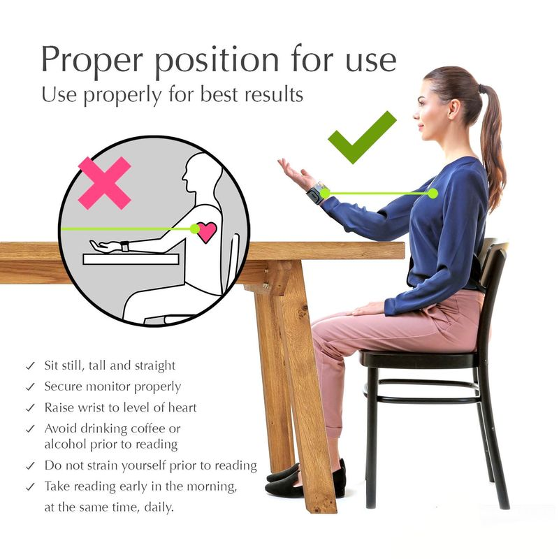 Правилна позиция при измерване на кръвно налягане с електронен апарат на китката.